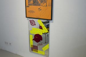 Ilja Karilampi Facemask Windbraker Silkscreen on paper 100 x 70 cm Edition of 25 (25 AP) 2017 & IRA Selfadhesive foil on mirror 60 x 96 cm 2018