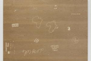 Ilja Karilampi Herbst in Kreuzberg. Swedens new Game. Wood with engraved cherry tree veneer 125 x 170 x 2 cm 2016