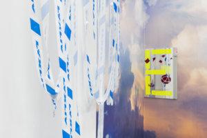 Ilja Karilampi LYXLIV Police tape 2018 & E for Embassy Selfadhesive foil on mirror 60 x 96 cm 2018