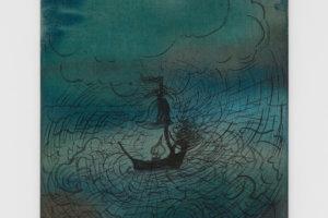 Jo Dickreiter Kleines Licht auf rauer See 2017 Tusche auf Leinwand